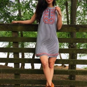 ANTHRO THML Striped Tribal Embroidered Dress